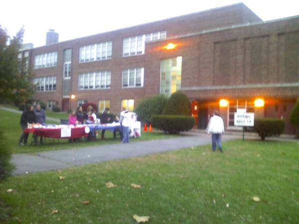 Bake Sale outside polling place in Stamford, CT